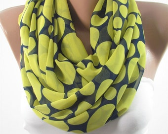 Polka Dots Scarf Shawl Wrap Navy Blue Yellow Scarf Chiffon Scarf Infinity Scarf Fall Winter Women Fashion Accessories Christmas Gift For Her