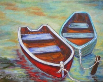 Boat Beach Art Impressionistic Canvas Painting