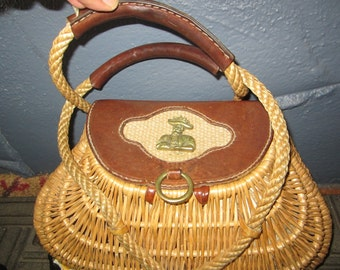 1960s Basket Purse/Fisherman Creel Basket Style Purse/Leather and Brass Basket Purse/Unique Fisherman Style Basket Purse