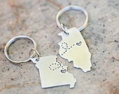 Long Distance Relationship Keychains - Set of Two, state keychains, BFF gift, going away gift, girlfriend gift, best friend gift, custom