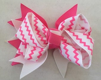 Pink and White Chevron Hair Bow on Hair Clip 3 1/2""
