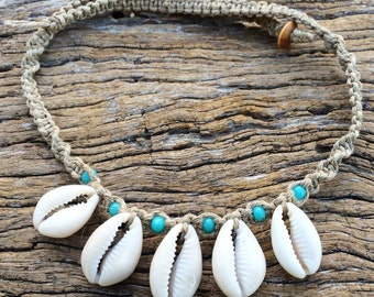 Handmade Hemp Macrame Shell Necklace with Cowrie Shells & Turquiose Glass Beads