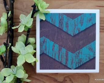 Turquoise Coasters - Chevron Coasters - Coasters - Drink Coasters - Tile Coasters - Ceramic Coasters - Rustic Coasters