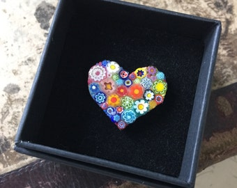 Lily Mosaics Quirky Beautiful Venetian Millefiori Glass Heart Brooch