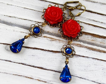Red Rose - vintage style antique brass earrings - Secret Garden Collection
