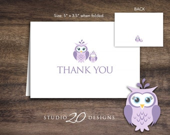 Instant Download Lilac Owl Thank You Card, Folded Purple Grey Owl Baby Shower Thank You Card for Girl Folded Owl Birthday Thank You Card 23H
