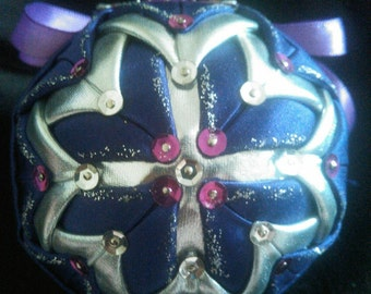 Beautiful Purple and Silver Quilted Ornament.