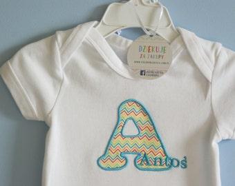 Letter Bodysiut or Shirt, Appliqued Bodysuit, Personalized Bodysuit, Child's Name