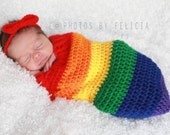 Newborn rainbow baby, snuggle sack, tieback, bonnet, newborn photography prop, Children's photo prop, rainbow baby prop, crochet photo prop