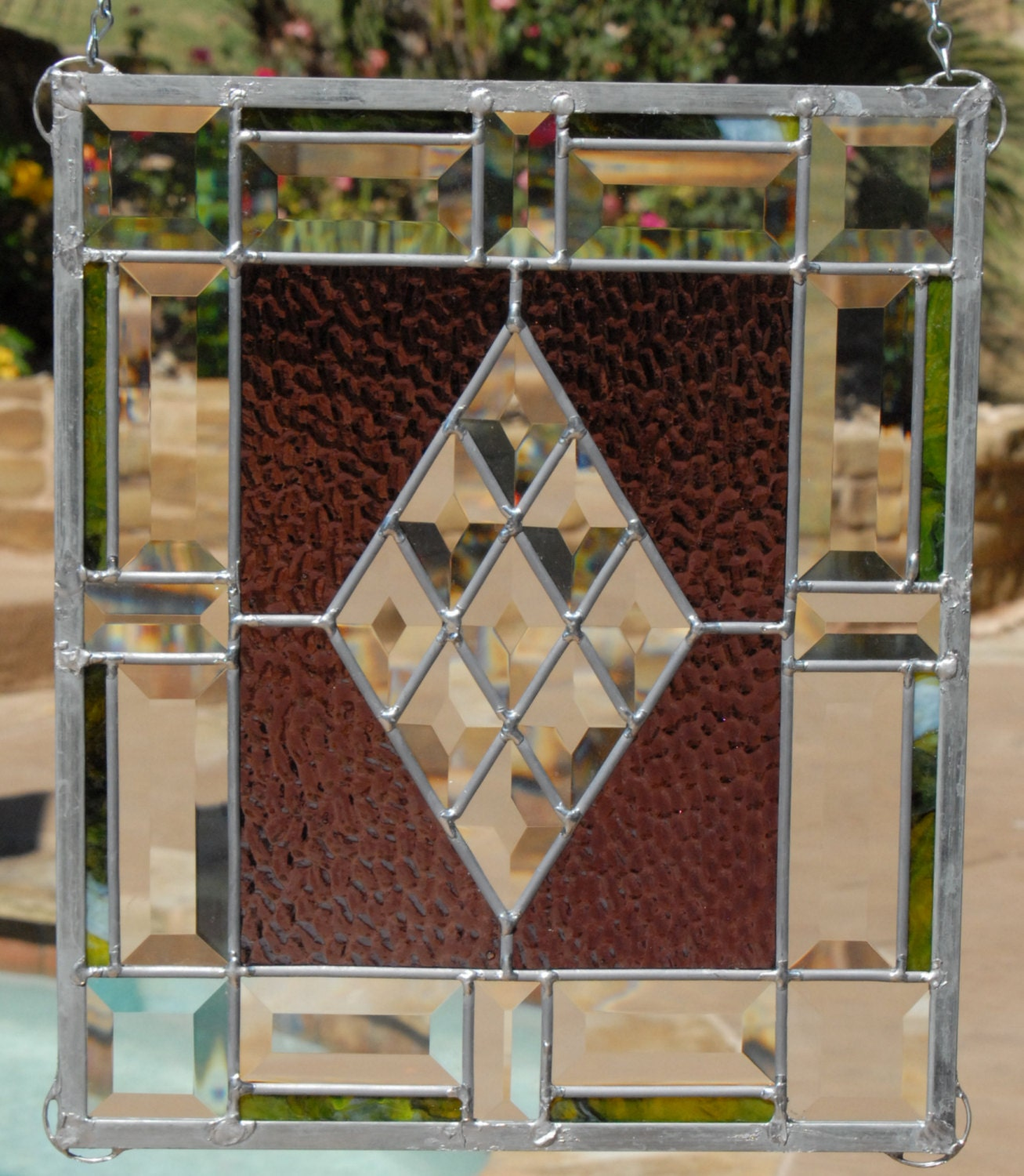 Geometric Beveled Stained Glass Panel
