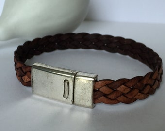 Natural Brown Braided Leather Bracelet, Leather Bangle, Unisex Leather Bracelet, Men's Leather Bracelet, Brown and Silver Leather Bracelet