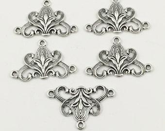 5 vintage flower multi connectors silver tone ,20mm x 31mm #CON 136