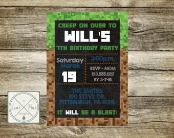 Pixel Made Birthday Invitation