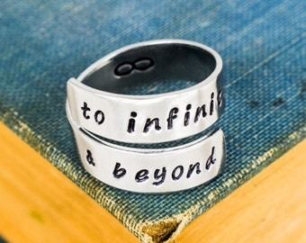 To Infinity and Beyond Wrap Ring - Infinity Symbol - Adjustable Aluminum Ring