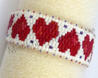 Beading Pattern - SWEET HEART Bracelet - PDF Instruction - Peyote Stitch