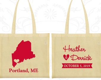 Maine Wedding, Maine Tote Bags, Wedding Canvas Bag Tote, Destination Wedding Bags, State Tote Bags, Custom Wedding Tote (118)