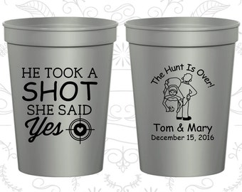He Took a Shot Cup, She Said Yes Cup, Wedding Favor Drink Cups, The Hunt is Over, Country Wedding, Shooting Target, wedding cup favors (559)