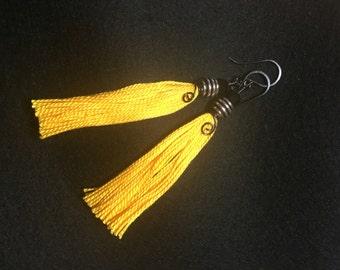 Bumble Bee Yellow Tasselled Earrings