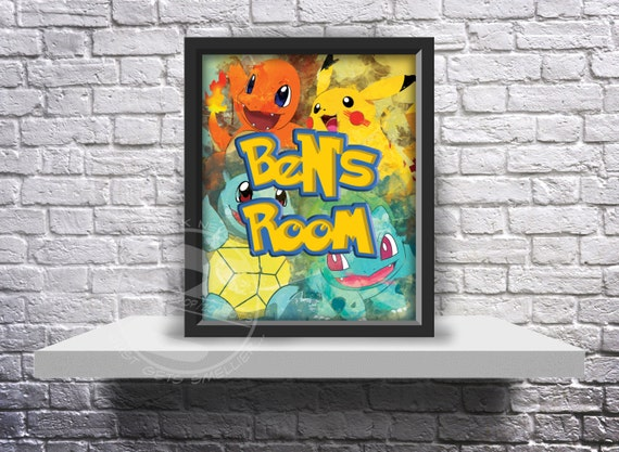 CUSTOM Pokemon Go Inspired Fan Art poster print choose Words, Size and Frame