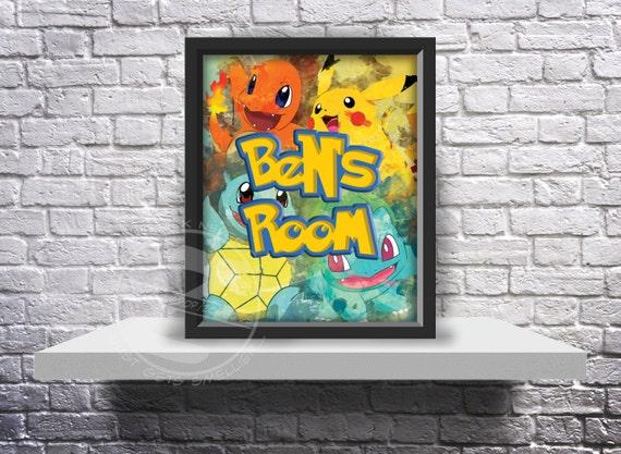CUSTOM Pokemon Go Inspired Fan Art poster print choose Words, Size and Frame