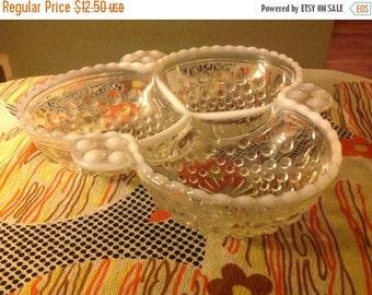 60% Off Sale Vintage Fenton Moonstone Crystal Hobnail Relish Dish