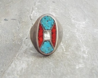 Old Pawn Zuni Mens Ring- Size 10 Channel Inlay Turquoise and Coral
