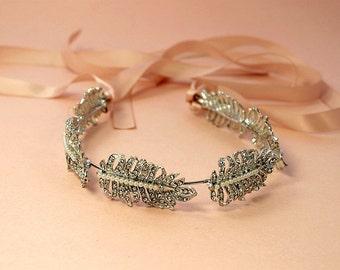 Rhinestone Leaf Headband,  Floral Boho Headpiece, Bridal Rhinestone headband, Silver, Flexible, Art deco
