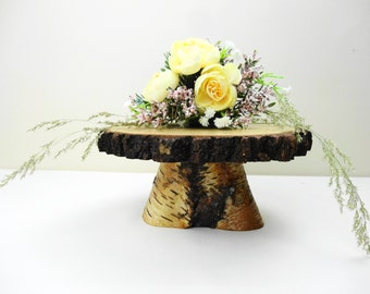 "7""-8"" Birch Stand, Wooden Stand, Pedestal, Cake Stand, Flower Stand, Centerpiece, Wedding Decor, Rustic Centerpiece, E29"