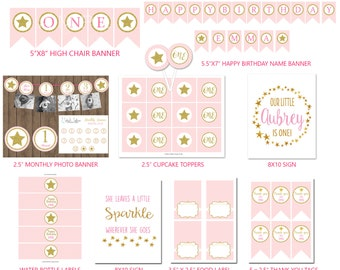 Gold Star Party Package, Gold Glitter, Pink First Birthday, Personalized Party Package, DIY DIGITAL FILES
