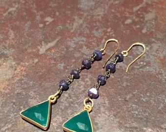Green Onyx triangle earrings