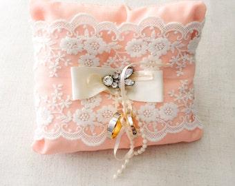 Ring bearer pillow, ring bearer cushion, peach pillow, peach wedding cushion, wedding pillow, page boy pillow, page boy cushion,