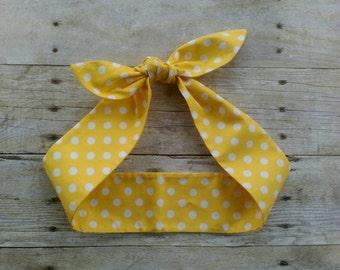 Yellow polka dot headband bandana knot hair tie Rosie the riveter retro rockabilly style made by FlyBowZ