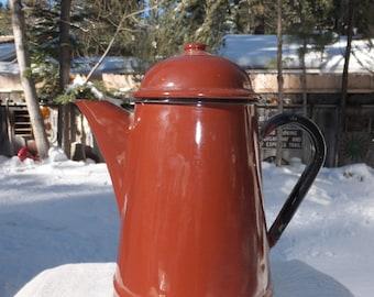 Vintage Brown Metal/Porcelain/Enamelware Coffee Pot-Made in Poland