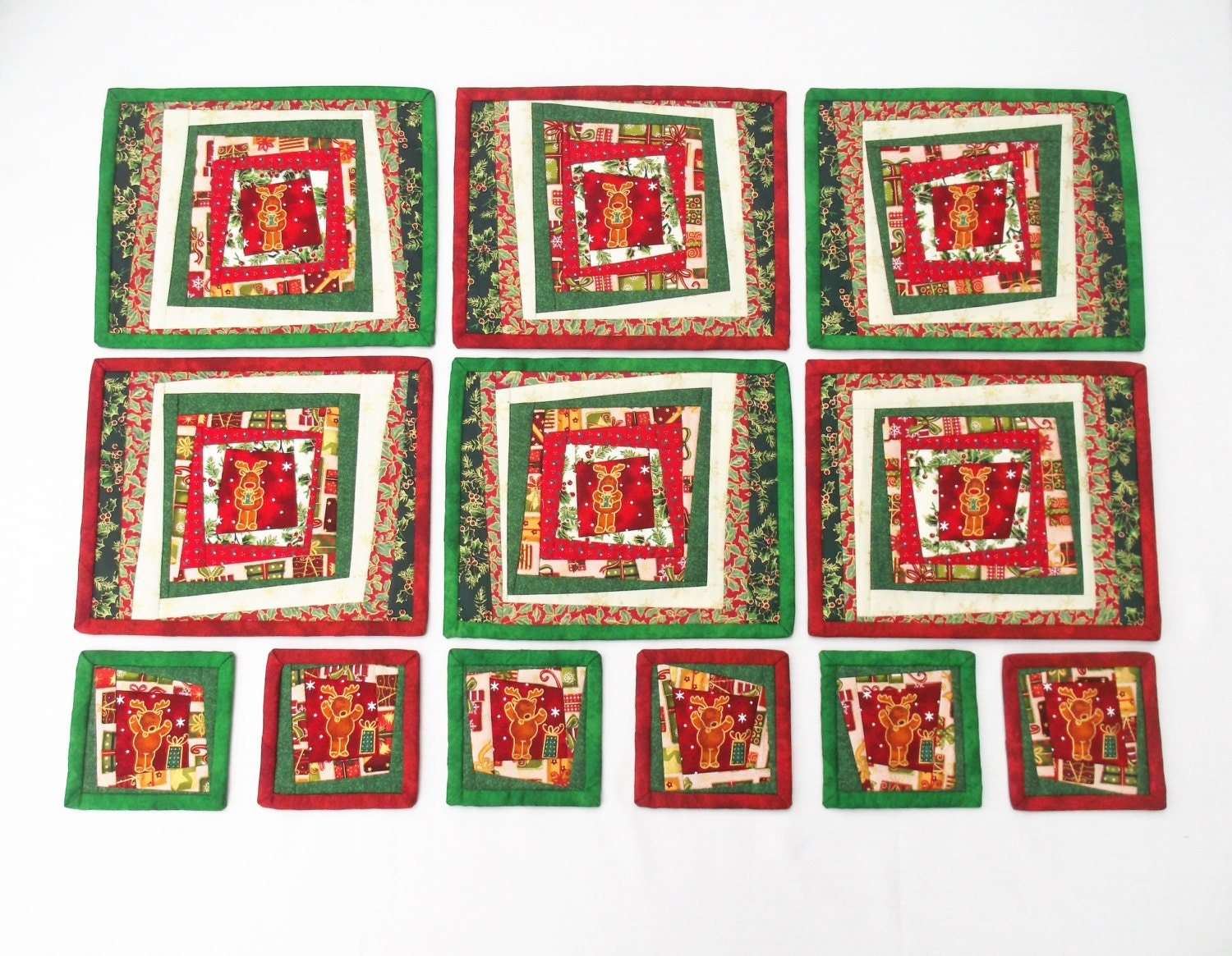Christmas patchwork table mat set 12 beautiful quirky for Table mats design your own