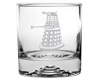Dr Who Dalek Etched Rocks Glass Personalized
