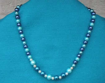 Aqua and navy glass pearl bead necklace