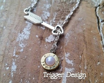 380 Caliber Bullet Necklace with Arrow Heart - White Pearl