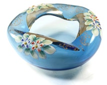Antique Bohemian Art Glass Ashtray - Czech Art Glass - Blue Glass Ashtray
