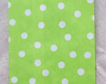 CLEARANCE - 30% OFF 12 Designer Green Dot Paper Bags - Additional Items Ship Free!!!