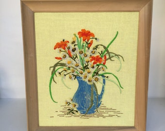 Vintage Crewel Stitched Picture of Wildflowers in a Pitcher