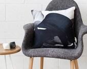 Adrian Cushion - Charcoal - Printed Velvet Cushion Cover