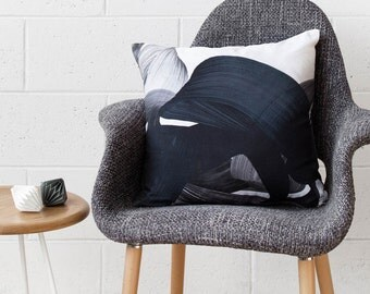 Adrian Cushion - Charcoal - Printed Velvet Cushion Cover