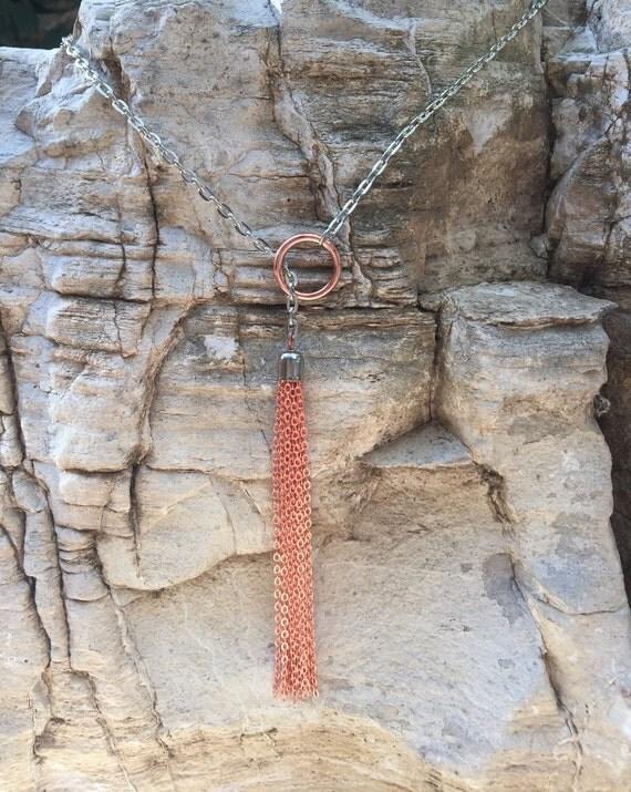 Chain Tassel Lariat Necklace