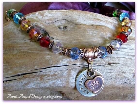 Personalized Rainbow Bridge Bracelet; Custom Pet Loss Bracelet; Handstamped  Paw Print Bracelet; Rainbow Bridge Poem; Pet Sympathy Gift Idea