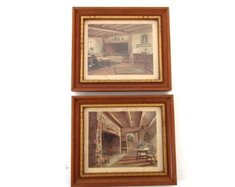 Vintage Framed Kitchen Art Lithos ( 2 pcs ) Donald Art Company DAC 1958 - Country Farmhouse Kitchen - Retro Kitchen Wall Decor