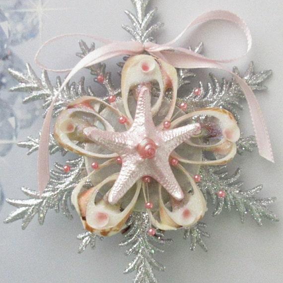 Seashell Christmas - Sea Shell Holiday Beach Decor - Coastal Christmas  Sliced Shell Ornament Pink Seashell Tree Topper Hostess GIFT WRAPPED