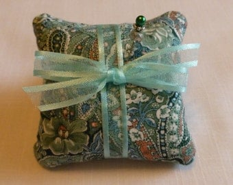 Large Emery Pincushion - Handmade- Paisley & Flowers