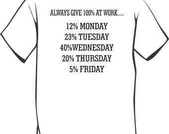 Always give 100% at work Funny T-Shirt