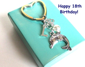18th birthday gift - Dolphin keychain - Personalised 18th keyring - 18th keychain - Dolphin keyring with pearl - Initial keyring - Etsy UK