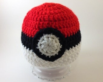 Pokéball Inspired Beanie - Seven Sizes - Regular or Earflaps - Made-to-Order